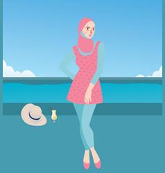 burqini woman girl wearing swim suit with hijab vector image vector image