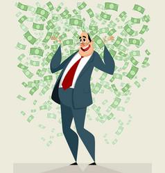 businessman in the money rain vector image