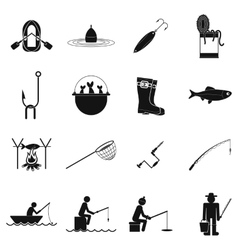 Fishing black simple icons set vector image