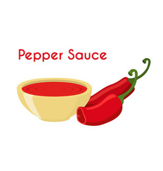 Pepper sauce hot chili condiment ketchup vector