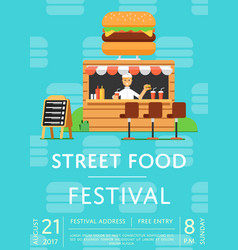 street food festival invitation in flat style vector image vector image
