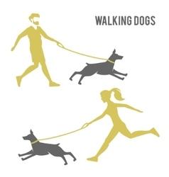 A man and a woman walking a dog vector image vector image
