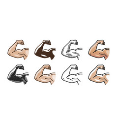 Arm muscles strong hand icon or symbol gym vector