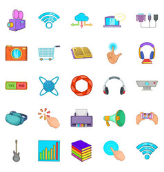Attachment icons set cartoon style vector