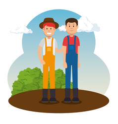 farmer gardener cartoon people vector image