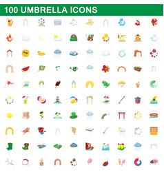 100 umbrella icons set cartoon style vector image vector image