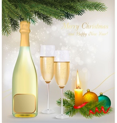 holiday background with two glasses of champagne vector image vector image
