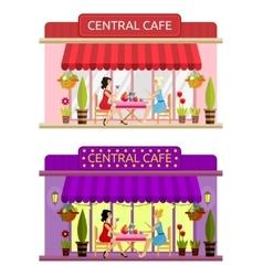 Open cafe building facade Flat vector image vector image