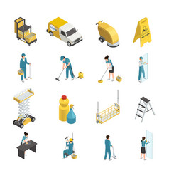 professional cleaning isometric icons vector image