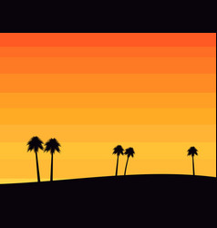silhouettes of palm trees on a sunset background vector image