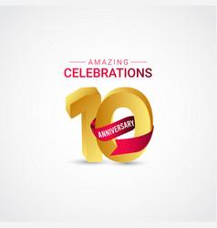 10 years anniversary amazing celebration gold vector