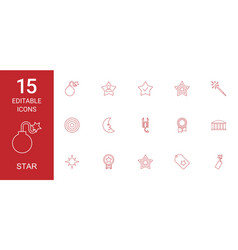 15 star icons vector image