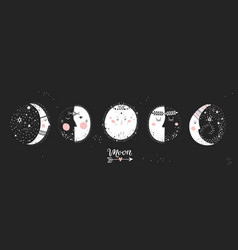 5 stages of the moon vector