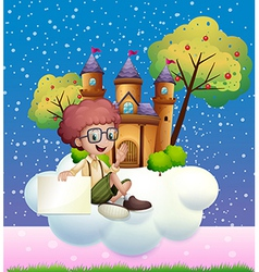 A boy sitting at the cloud holding an empty vector