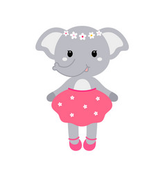 A cute funny elephant girl in a vector