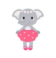 A cute funny elephant girl vector