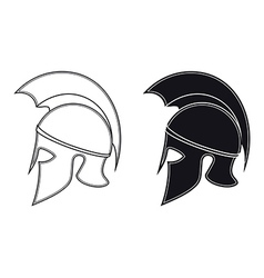 Ancient Greek Warrior Helmet Side Silhouette vector image