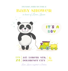 Baby shower card - panda with train toy vector
