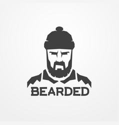 bearded lumberjack worker man logo image vector image