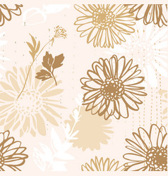 beautiful floral background camomiles line art vector image