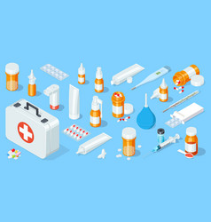big set of medical equipment and pharmacy first vector image