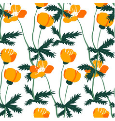blooming spring or summer flowers with leaves vector image