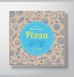 blue cheese pizza realistic cardboard box vector image