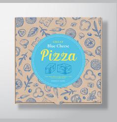 Blue cheese pizza realistic cardboard box vector