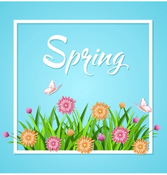 Blue spring background with green grass vector image