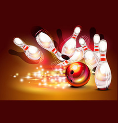 Bowling game strike over dark red background vector