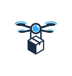 box drone logo icon design vector image