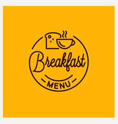 breakfast menu logo round linear coffee cup vector image