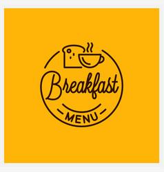 Breakfast menu logo round linear coffee cup vector