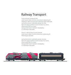 Brochure locomotive with tank on railway platform vector
