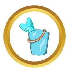 Bucket of fish icon vector image