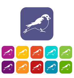 Bullfinch icons set vector