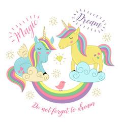 Card with unicorns on the rainbow vector