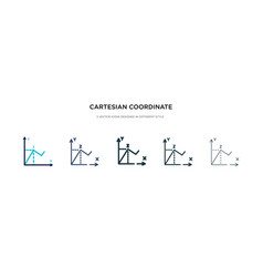 Cartesian coordinate system icon in different vector