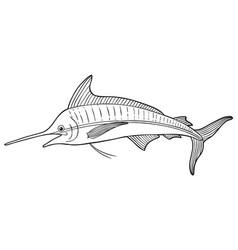 cartoon blue marlin line art vector image