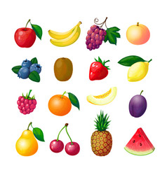 Cartoon fruits and berries apple banana grape vector