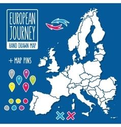 Cartoon style hand drawn journey map europe vector