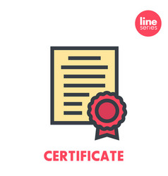 certificate icon on white flat style with outline vector image