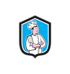 Chef Cook Holding Knife Arms Crossed Cartoon vector