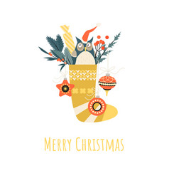 christmas greeting banner with sock cartoon owl vector image
