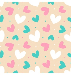 Colorful seamless pattern background with hearts vector image