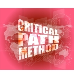 Critical path method words on digital screen with vector