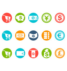 currency round button icons set vector image