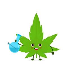 Cute funny smiling happy marijuana weed leaf vector