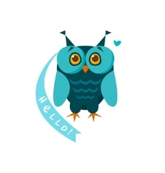 Cute owl with a sign for text vector