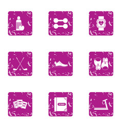 development of the body icons set grunge style vector image